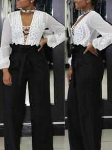 Black Pockets Sashes Pleated High Waisted Casual Wide Leg Long Pants
