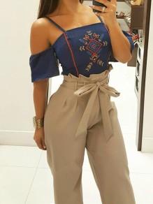 Khaki Pockets Sashes Casual Long Pants