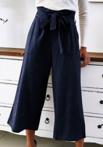 Dark Blue Sashes Fashion Lace-up Wide Leg Nine's Pants