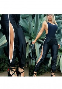 Black Thigh High Side Slits Mid-rise Long Pants