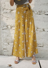Yellow Floral Sashes Double Slit Bohemian Wide Leg Long Pants