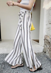 White Striped Sashes Double Slit Going out Casual Wide Leg Long Pants