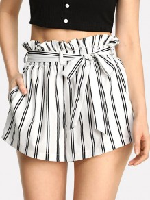 White Striped Belt Ruffle High Waisted Casual Short Pant