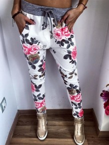 Multicolor Floral Drawstring Pockets Long Casual Pants