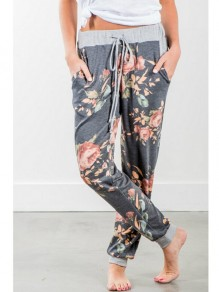 Grey Floral Drawstring Pockets Long Casual Pants