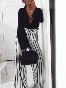 White Striped Sashes Bow High Waisted Party Wide Leg Long Jumpsuit