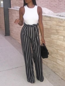 Black Striped Sashes Bow High Waisted Party Wide Leg Long Pants