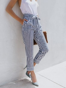 Blue Striped Sashes Pockets High Waisted Casual Long Pant