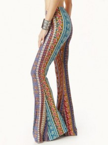 Orange Tribal Floral Pattern High Waisted Thot Extreme Flare Bell Bottom Vintage Long Pants