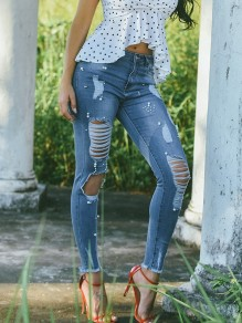 Blue Pearl Pockets Cut Out Fashion Jeans Pant