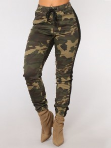 Army Green Camouflage Drawstring Pockets Fashion Pant