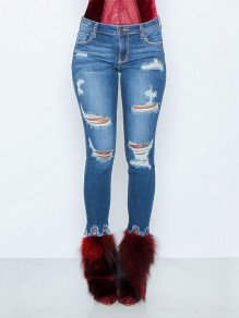 Blue Pockets Cut Out Skinny Fashion Jeans Pant
