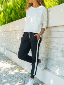Black Striped Pockets Drawstring Casual Long Pants