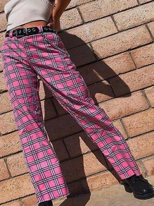 Pink Plaid Pockets Chain High Waisted Streetwear Causal Fashion Long Cargo Pants