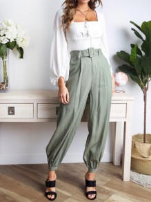 Green Belt Pockets High Waisted Bloomers Knickerbockers Office Worker/Daily Long Pants