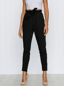 Black Sashes Pockets High Waisted Casual Nine's Pants