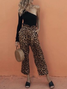 Brown Leopard Print High Waisted Casual Wide Leg Long Pants