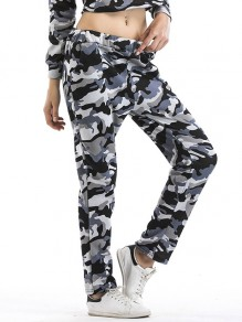 Grey Camouflage Print Pockets High Waisted Casual Long Pants