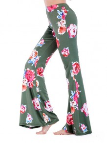 Green Floral Print Bell Bottom High Waisted Comfy Long Pants