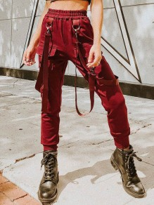 Red Pockets Belt Studded Mid-rise Fashion Casual Cargo Long Pants