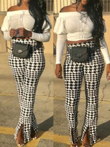 White-Black Plaid Pattern High Waisted Slit Bell Bottom Flare Vintage Long Pants