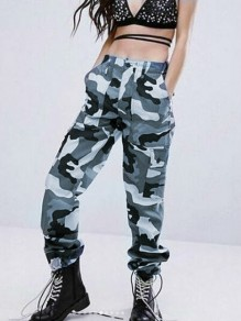 Blue-Black Camouflage Pockets High Waisted Button Hippie Haren Casual Cargo Long Pants