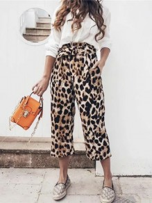 Brown Leopard Belt Pockets High Waisted Fashion Wide Pant