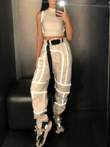 White Geometric Reflective Belt Harem Casual Long Pant