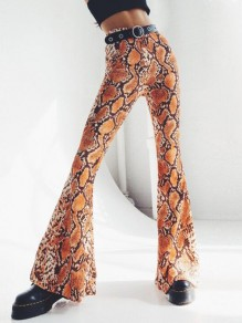 Orange Snake Skin Pattern Draped High Waisted Bell Bottom Flare Vintage Long Pants