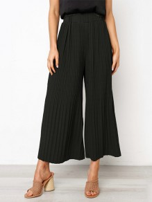 Black Patchwork Pleated High Waisted Fashion Wide Leg Pant