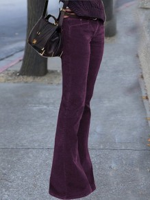 Purple Buttons Zipper Pockets High Waisted Bell Bottomed Flares Long Pant