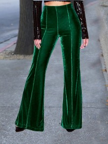 Green Velvet High Waisted Bell Bottomed Flares Long Pant