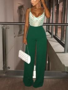 Green Pleated High Waisted Fashion Long Pants