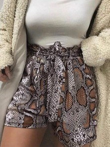 Coffee Floral Belt High Waisted Fashion Short