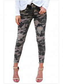 Green Camouflage Cut Out Pockets High Waisted Fashion Jeans Pant