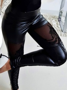 Black Patchwork Grenadine Lace Lace-up Sheer PU Leather Latex Bubble Vinly High Waisted Long Pant