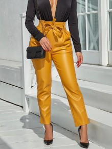 Yellow Belt Pleated Pockets PU Leather Latex Bubble Vinly High Waisted Party Long Pant