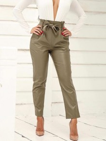 Grey Belt Pleated Pockets PU Leather Latex Bubble Vinly High Waisted Party Long Pant