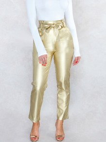 Golden Belt Pleated Pockets PU Leather Latex Bubble Vinly High Waisted Party Long Pant