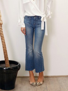 Dark Blue Patchwork Pockets Buttons Mid-rise Fashion Cropped Flare Jeans Pant