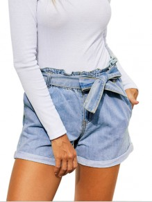 Light Blue Patchwork Belt Pockets High Waisted Fashion Short