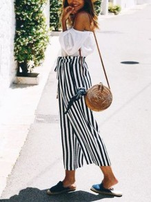 Black White Striped Print Sashes Wide Leg Palazzo Pants