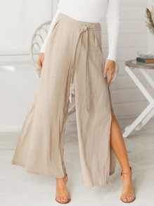 Khaki Sashes Single Breasted Side Slit High Waisted Long Pants