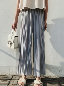 Light Grey Pleated High Waisted Chiffon Nine's Wide Leg Palazzo Pants