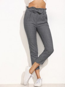 Grey Striped Belt Pockets High Waisted Fashion Pants