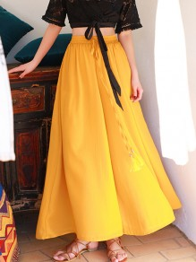 Yellow Chiffon Drawstring Tassel Pockets Pleated High Waisted Fashion Wide Leg Long Pants
