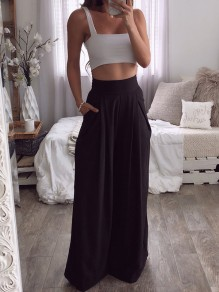 Black Draped Pockets High Waisted Fashion Wide Leg Palazzo Pants