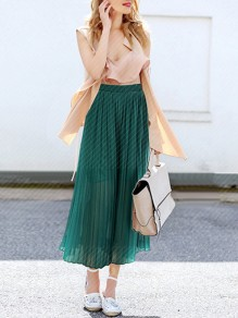 Green Patchwork Pleated High Waisted Chiffon Wide Leg Flares Pant