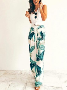 Green Palm Leaves Pattern Pleated Pockets High Waisted Bohemian Wide Leg Palazzo Tropical Long Pants