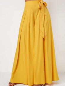 Yellow Pleated Belt High Waisted Wide Leg Elegant Long Pants
